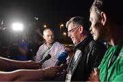 17 August 2016; Willie O'Brien, interim president of the OCI, speaks to the media at the Hospital Samaritano Barra in Rio de Janeiro, Brazil. Photo by Brendan Moran/Sportsfile