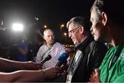 17 August 2016; Willie O'Brien, interim president of the OCI, speaks to the media at the Hospital Samaritano Barra in Rio de Janeiro, Brazil. Photo by Brendan Moran/Sportsfile