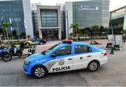 18 August 2016; A general view of a police car outside the Hospital Samaritano Barra in Rio de Janeiro, Brazil. Photo by Stephen McCarthy/Sportsfile