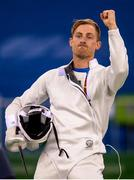18 August 2016; Arthur Lanigan O'Keeffe of Ireland in action during the Men's Individual Fencing Ranking round of the Modern Pentathlon at the Youth Arena in Deodora during the 2016 Rio Summer Olympic Games in Rio de Janeiro, Brazil. Photo by Ramsey Cardy/Sportsfile