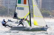 18 August 2016; Ryan Seaton and Matt McGovern of Ireland in action during the Men's 49er Medal Race on the Marina da Glória, Pão de Açúcar course, during the 2016 Rio Summer Olympic Games in Rio de Janeiro, Brazil. Photo by David Branigan/Sportsfile