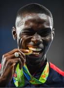 18 August 2016; Kerron Clement of USA with his gold medal after he won the Men's 400m hurdles final in the Olympic Stadium, Maracanã, during the 2016 Rio Summer Olympic Games in Rio de Janeiro, Brazil. Photo by Brendan Moran/Sportsfile