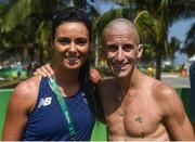 19 August 2016; Robert Heffernan of Ireland with his wife Marian after he finished 6th in the Men's 50km Walk Final during the 2016 Rio Summer Olympic Games in Rio de Janeiro, Brazil. Photo by Stephen McCarthy/Sportsfile