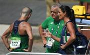 19 August 2016; Robert Heffernan of Ireland with team manager Patsy McGonigle and his wife Marian after finishing 6th in the Men's 50km Walk Final during the 2016 Rio Summer Olympic Games in Rio de Janeiro, Brazil. Photo by Brendan Moran/Sportsfile