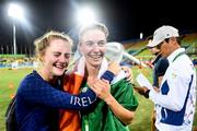19 August 2016; Natalya Coyle of Ireland is congratulated by her training partner Sive Brassil after the women's combined discipline of the Women's Modern Pentathlon at the Youth Arena in Deodora during the 2016 Rio Summer Olympic Games in Rio de Janeiro, Brazil. Photo by Ramsey Cardy/Sportsfile