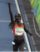 19 August 2016; Vivian Jepkemoi Cheruiyot of Kenya celebrates winning the Women's 5000m final in a world record time of 14:26.17 in the Olympic Stadium, Maracanã, during the 2016 Rio Summer Olympic Games in Rio de Janeiro, Brazil. Photo by Brendan Moran/Sportsfile