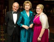 6 November 2010; Caroline Connaughton, Roscommon, with President Mary McAleese and her husband Dr. Martin McAleese at the 2010 Camogie All-Stars in association with O'Neills. Citywest Hotel, Saggart, Co. Dublin. Picture credit: Stephen McCarthy / SPORTSFILE