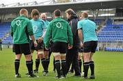 9 November 2010; Ireland forwards coach Gert Smal in convesation with Tom Court, Donncha O'Callaghan, John Hayes, Denis Leamy, Sean O'Brien and Jamie Heaslip during squad training ahead of their Autumn International match against Samoa on Saturday. Ireland Rugby Squad Training, Donnybrook Stadium, Donnybrook, Dublin. Picture credit: Brendan Moran / SPORTSFILE