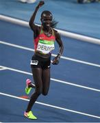 19 August 2016; Vivian Jepkemoi Cheruiyot of Kenya celebrates winning the Women's 5000m final in a world record time of 14:26.17 in the Olympic Stadium, Maracanã, during the 2016 Rio Summer Olympic Games in Rio de Janeiro, Brazil. Photo by Brendan Moran/Sportsfile
