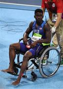 19 August 2016; Trayvon Bromell of USA is taken away on a wheelchair after the Men's 4 x 100m relay final in the Olympic Stadium, Maracanã, during the 2016 Rio Summer Olympic Games in Rio de Janeiro, Brazil. Photo by Brendan Moran/Sportsfile