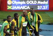 19 August 2016; The Jamaica team, from left, Yohan Blake, Nickel Ashmeade, Asafa Powell and Usain Bolt celebrate winning the Men's 4 x 100m relay final in the Olympic Stadium, Maracanã, during the 2016 Rio Summer Olympic Games in Rio de Janeiro, Brazil. Photo by Brendan Moran/Sportsfile