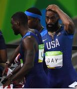19 August 2016; Tyson Gay of USA, right, and his team mates react after they were disqualified from the Men's 4 x 100m relay final in the Olympic Stadium, Maracanã, during the 2016 Rio Summer Olympic Games in Rio de Janeiro, Brazil. Photo by Brendan Moran/Sportsfile