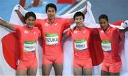 19 August 2016; Team Japan celebrate finishing second in the Men's 4 x 100m relay final in the Olympic Stadium, Maracanã, during the 2016 Rio Summer Olympic Games in Rio de Janeiro, Brazil. Photo by Brendan Moran/Sportsfile