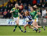 20 August 2016; Rachel McKenna of Monaghan in action against Sarah Houlihan, right, and Laura Rogers of Kerry during the TG4 Ladies Football All-Ireland Senior Championship Quarter-Final game between Monaghan and Kerry at St Brendan's Park in Birr, Co Offaly. Photo by Sam Barnes/Sportsfile