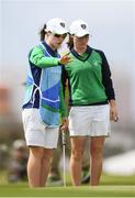 20 August 2016; Leona Maguire of Ireland, right, with her twin sister and caddy Lisa discussing the putt on the 17th during the final round of the women's golf at the Olympic Golf Course, Barra de Tijuca, during the 2016 Rio Summer Olympic Games in Rio de Janeiro, Brazil. Photo by Stephen McCarthy/Sportsfile