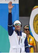 20 August 2016; Arthur Lanigan O'Keeffe of Ireland acknowledges the crowd before his heat of the swimming in the Men's Modern Pentathlon at the Deodora Aqiatics Centre during the 2016 Rio Summer Olympic Games in Rio de Janeiro, Brazil. Photo by Brendan Moran/Sportsfile