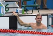20 August 2016; Arthur Lanigan O'Keeffe of Ireland reacts after his heat of the swimming in the Men's Modern Pentathlon at the Deodora Aqiatics Centre during the 2016 Rio Summer Olympic Games in Rio de Janeiro, Brazil. Photo by Brendan Moran/Sportsfile