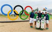20 August 2016; Team Ireland, from left, Brett Nickolite, caddy, Stephanie Meadow, Paul McGinley, manager, Leona Maguire and her twin sister and caddy Lisa following the final round of the women's golf at the Olympic Golf Course, Barra de Tijuca, during the 2016 Rio Summer Olympic Games in Rio de Janeiro, Brazil. Photo by Stephen McCarthy/Sportsfile