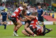 20 August 2016; Garry Ringrose of Leinster is tackled by Richard Hibbard, left, Paddy McAllister, centre, and Tom Savage of Gloucester during a Pre-Season Friendly game between Leinster and Gloucester at Tallaght Stadium in Tallaght, Co Dublin. Photo by Seb Daly/Sportsfile