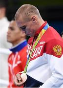 20 August 2016; Vladimir Nikitin of Russia after being presented with his Bantamweight bronze medal at the Riocentro Pavillion 6 Arena during the 2016 Rio Summer Olympic Games in Rio de Janeiro, Brazil. Photo by Stephen McCarthy/Sportsfile