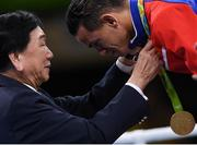 20 August 2016; AIBA President Dr Ching-Kuo Wu presents the Bantamweight gold medal to Robeisy Ramirez of Cuba at the Riocentro Pavillion 6 Arena during the 2016 Rio Summer Olympic Games in Rio de Janeiro, Brazil. Photo by Stephen McCarthy/Sportsfile