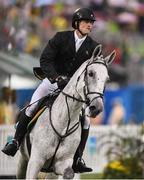 20 August 2016; Arthur Lanigan O'Keeffe of Ireland on Equador Itapua competing in the riding show jumping round of the Men's Modern Pentathlon at the Youth Arena in Deodora during the 2016 Rio Summer Olympic Games in Rio de Janeiro, Brazil. Photo by Brendan Moran/Sportsfile