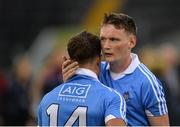 20 August 2016; Cian Boland of Dublin, left is consoled by team mate Shane Barrett the Bord Gáis Energy GAA Hurling U21 Championship Semi-Final game between Dublin and Galway at Semple Stadium in Thurles, Co Tipperary. Photo by Eóin Noonan/Sportsfile