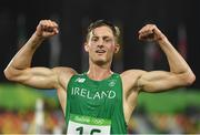 20 August 2016; Arthur Lanigan O'Keeffe of Ireland celebrates finishing in 8th place in the Men's Modern Pentathlon at the Deodora Aquatics Centre during the 2016 Rio Summer Olympic Games in Rio de Janeiro, Brazil. Photo by Brendan Moran/Sportsfile