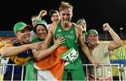20 August 2016; Arthur Lanigan O'Keeffe of Ireland celebrates with supporters after finishing in 8th place in the Men's Modern Pentathlon at the Deodora Aquatics Centre during the 2016 Rio Summer Olympic Games in Rio de Janeiro, Brazil. Photo by Brendan Moran/Sportsfile