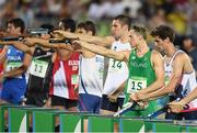 20 August 2016; Arthur Lanigan O'Keeffe of Ireland #15 competing in the Combined Running/Shooting round of the Men's Modern Pentathlon at the Deodora Aquatics Centre during the 2016 Rio Summer Olympic Games in Rio de Janeiro, Brazil. Photo by Brendan Moran/Sportsfile