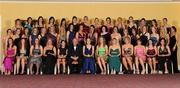 13 November 2010; The nominees for the 2010 O'Neills TG4 Ladies Football All-Star Awards with Pat Quill, President, Cumann Peil Gael na mBan, back row, from left, Sinead McLaughlin, Tyrone, Aisling Holton, Kildare, Niamh O'Dea, Clare, Emer Flaherty, Galway, Laurissa Hogan, Waterford, Ciara Hegarty, Donegal, Yvonne McMonagle, Donegal, Cathy Donnelly, Tyrone, Gemma Begley, Tyrone, Neamh Woods, Tyrone, Shannon Quinn, Tyrone, Therese McNally, Monaghan, Joline Donnelly, Tyrone, and Sharon Courtney, Monaghan. Middle row, from left, Geraldine O'Flynn, Cork, Geralding McLoughlin, Donegal, Niamh Keane, Clare, Valerie Mulcahy, Cork, Nollaig Cleary, Cork, Juliet Murphy, Cork, Brid Stack, Cork, Michelle Ryan, Waterford, Shannon Lynch, Tyrone, Maura Kelly, Tyrone, Cliodhna O'Connor, Dublin, Elaine Kelly, Dublin, Mary Nevin, Dublin, Denise Masterson, Dublin, Lorraine Muckian, Laois, Patricia Fogarty, Laois, Aisling Quigley, Laois and Tracey Lawlor, Laois, with front, from left, Aisling Leonard, Kerry, Louise Ni Mhuircheartaigh, Kerry, Edel Murphy, Kerry, Bernie Breen, Kerry, Dymphna O'Brien, Limerick, Louise Henchy, Clare, Rachel Ruddy, Dublin, Gemma Fay, Dublin, Amy McGuinness, Dublin, Siobhan McGrath, Dublin, Sinead Aherne, Dublin, and Noreen Kirwan, Laois. O'Neills TG4 Ladies Football All-Star Awards 2010, Citywest Hotel, Saggart, Co. Dublin. Picture credit: Brendan Moran / SPORTSFILE