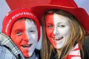 14 November 2010; Sligo Rovers supporters Dualta Doyle and Aoife Doyle, from Seaview Park, Sligo, on their way to the match. FAI Ford Cup Final, Shamrock Rovers v Sligo Rovers, Aviva Stadium, Lansdowne Road, Dublin. Picture credit: Brian Lawless / SPORTSFILE