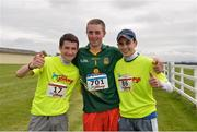 21 August 2016; Jockeys Shane Foley, left, and Ronan Whelan, right, who finished joint-first of the jockeys in the 10km race with Keith Donoghue, first jockey home in the 5km race, at The Jog For Jockeys in aid of Irish Injured Jockeys. Over 400 runners took part in the annual Jog For Jockeys 5km and 10km charity runs in aid of Irish Injured Jockeys at the Curragh Racecourse in Kildare today. Photo by Piaras Ó Mídheach/Sportsfile