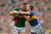 21 August 2016; Aidan O'Shea of Mayo in action against Brian Fox of Tipperary during the GAA Football All-Ireland Senior Championship Semi-Final game between Mayo and Tipperary at Croke Park in Dublin. Photo by Eóin Noonan/Sportsfile