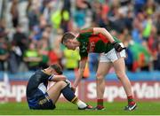 21 August 2016; A dejected Evan Comerford of Tipperary is consoled by Diarmuid O'Connor of Mayo after the GAA Football All-Ireland Senior Championship Semi-Final game between Mayo and Tipperary at Croke Park in Dublin. Photo by Eóin Noonan/Sportsfile