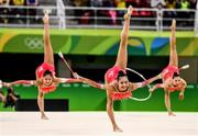21 August 2016; The Japan team competing during the Rhythmic Gymnastics Group All-Around Final in the Rio Olympic Arena during the 2016 Rio Summer Olympic Games in Rio de Janeiro, Brazil. Photo by Ramsey Cardy/Sportsfile
