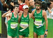 21 August 2016; Paul Pollock, Kevin Seaward and Mick Clohisey of Ireland after finishing the Men's Marathon at Sambódromo, Maracanã, during the 2016 Rio Summer Olympic Games in Rio de Janeiro, Brazil. Photo by Brendan Moran/Sportsfile