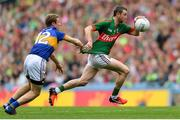 21 August 2016; Keith Higgins of Mayo in action against Brian Fox of Tipperary during the GAA Football All-Ireland Senior Championship Semi-Final game between Mayo and Tipperary at Croke Park in Dublin. Photo by Eóin Noonan/Sportsfile
