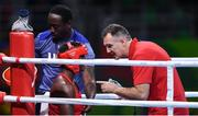21 August 2016; Team USA boxing coach Billy Walsh with Claressa Shields of USA during their Women's Boxing Middleweight Final bout with Nouchka Fontijn of Netherlands at Riocentro Pavillion 6 Arena during the 2016 Rio Summer Olympic Games in Rio de Janeiro, Brazil. Photo by Stephen McCarthy/Sportsfile