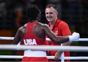 21 August 2016; Team USA boxing coach Billy Walsh with Claressa Shields of USA following their Women's Boxing Middleweight Final bout with Nouchka Fontijn of Netherlands at Riocentro Pavillion 6 Arena during the 2016 Rio Summer Olympic Games in Rio de Janeiro, Brazil. Photo by Stephen McCarthy/Sportsfile