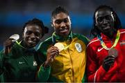 20 August 2016; On the podium following the Women's 800m final are, from left, Francince Niyonsaba of Burundi, Caster Semenya of South Africa and Margaret Nyairera Wambui of Kenya in the Olympic Stadium during the 2016 Rio Summer Olympic Games in Rio de Janeiro, Brazil. Photo by Ramsey Cardy/Sportsfile