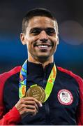 20 August 2016; Matthew Centrowitz of USA on the podium following his victory in the Men's 1500m final in the Olympic Stadium during the 2016 Rio Summer Olympic Games in Rio de Janeiro, Brazil. Photo by Ramsey Cardy/Sportsfile