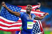 20 August 2016; Gil Roberts of USA following his team's victory in the Men's 4 x 400m final in the Olympic Stadium during the 2016 Rio Summer Olympic Games in Rio de Janeiro, Brazil. Photo by Ramsey Cardy/Sportsfile
