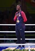 21 August 2016; Gold medallist Claressa Shields of USA during the Women's Boxing Middleweight medal presentation at Riocentro Pavillion 6 Arena during the 2016 Rio Summer Olympic Games in Rio de Janeiro, Brazil. Photo by Stephen McCarthy/Sportsfile