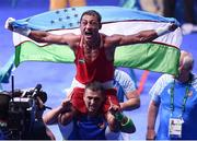 21 August 2016; Fazliddin Gaibnazarov of Uzbekistan celebrates victory over Lorenzo Sotomayor Collazo of Azerbaijan during their Men's Boxing Light Welterweight Final bout at Riocentro Pavillion 6 Arena during the 2016 Rio Summer Olympic Games in Rio de Janeiro, Brazil. Photo by Stephen McCarthy/Sportsfile