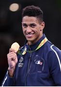 21 August 2016; Tony Yoka of France after being presented with his Men's Boxing Super Heavyweight gold medal at Riocentro Pavillion 6 Arena during the 2016 Rio Summer Olympic Games in Rio de Janeiro, Brazil. Photo by Stephen McCarthy/Sportsfile
