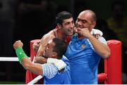 21 August 2016; Shakhobidin Zoirov of Uzbekistan celebrates victory over Misha Aloian of Russia during their Men's Boxing Flyweight Final bout at Riocentro Pavillion 6 Arena during the 2016 Rio Summer Olympic Games in Rio de Janeiro, Brazil. Photo by Stephen McCarthy/Sportsfile