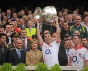 19 September 2010; Paul Kerrigan, Cork, lifts the Sam Maguire. GAA Football All-Ireland Senior Championship Final, Down v Cork, Croke Park, Dublin. Picture credit: Dáire Brennan / SPORTSFILE