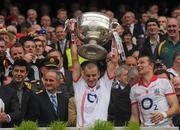 19 September 2010; John Miskella, Cork, lifts the Sam Maguire. GAA Football All-Ireland Senior Championship Final, Down v Cork, Croke Park, Dublin. Picture credit: Dáire Brennan / SPORTSFILE