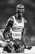 20 August 2016; Mo Farah of Great Britain celebrates after winning the Men's 5000m final in the Olympic Stadium during the 2016 Rio Summer Olympic Games in Rio de Janeiro, Brazil. Photo by Ramsey Cardy/Sportsfile